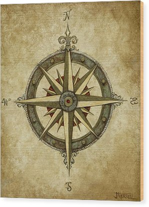 Compass Rose Wood Print by Judy Merrell
