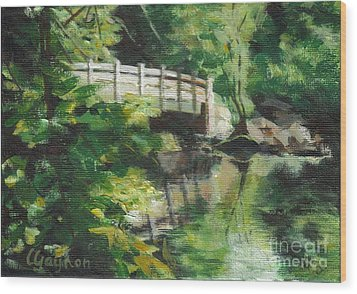 Concord River Bridge Wood Print by Claire Gagnon