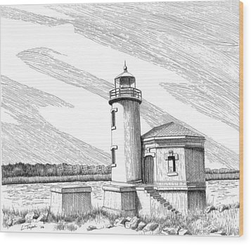 Coquille River Lighthouse Wood Print by Lawrence Tripoli