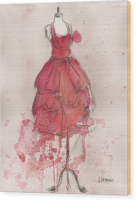 Coral Pink Party Dress Wood Print by Lauren Maurer