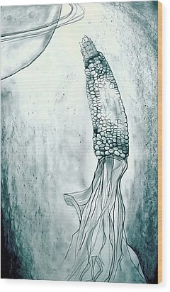 Corn In Space Wood Print by Michelle Calkins