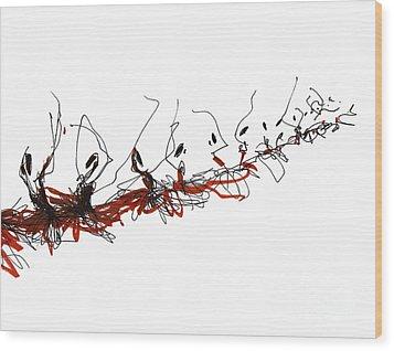 Corps De Ballet In Red Tutus Wood Print by Lousine Hogtanian
