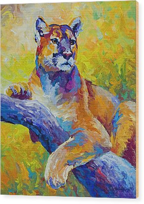 Cougar Portrait I Wood Print by Marion Rose