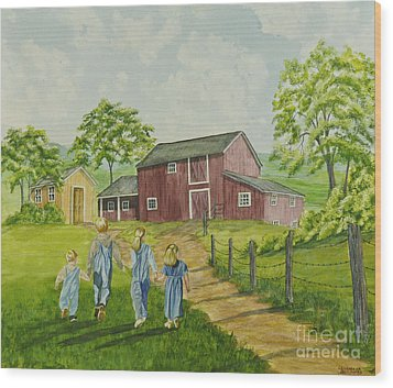 Country Kids Wood Print by Charlotte Blanchard