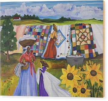 Country Quilts Wood Print by Diane Britton Dunham