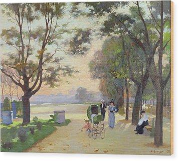 Cours La Reine Paris Wood Print by Jules Ernest Renoux