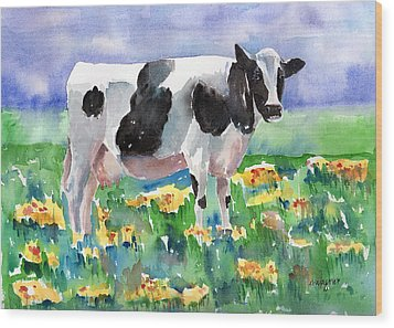 Cow In The Meadow Wood Print by Arline Wagner