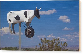 Cow Power Wood Print by Skip Hunt