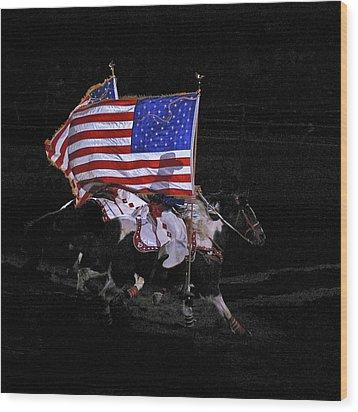 Cowboy Patriots Wood Print by Ron White