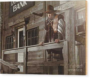 Cowboy Waiting Outside Of A Bank Building Wood Print by Oleksiy Maksymenko