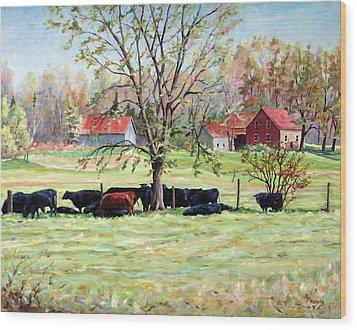 Cows Grazing In One Field  Wood Print by Richard T Pranke