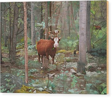 Cows In The Woods Wood Print by Joshua Martin