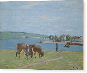 Cows On The Banks Of The Seine At Saint Mammes Wood Print by Alfred Sisley
