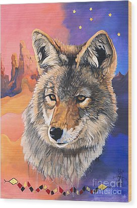 Coyote The Trickster Wood Print by J W Baker