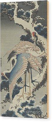 Cranes On Pine Wood Print by Hokusai