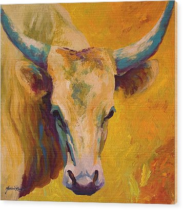 Creamy Texan - Longhorn Wood Print by Marion Rose