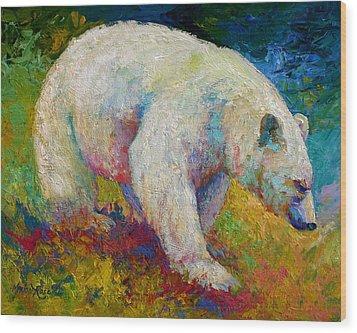 Creamy Vanilla - Kermode Spirit Bear Of Bc Wood Print by Marion Rose