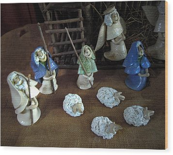 Creche Shepards And Sheep Wood Print by Nancy Griswold