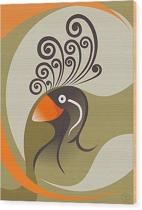 crestedAUKLET Wood Print by Mariabelones ART