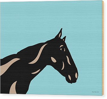 Crimson - Pop Art Horse - Black, Hazelnut, Island Paradise Blue Wood Print by Manuel Sueess