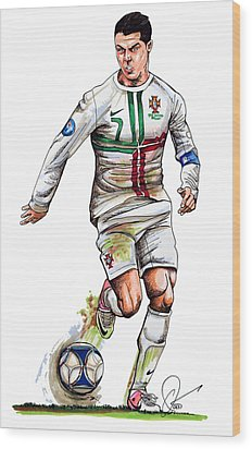 Cristiano Ronaldo Wood Print by Dave Olsen