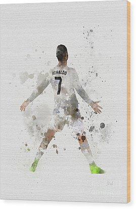 Cristiano Ronaldo Wood Print by Rebecca Jenkins