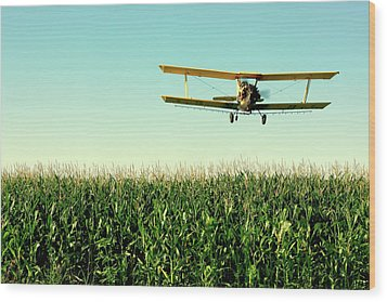 Crops Dusted Wood Print by Todd Klassy