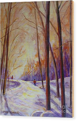 Cross Country Sking St. Agathe Quebec Wood Print by Carole Spandau