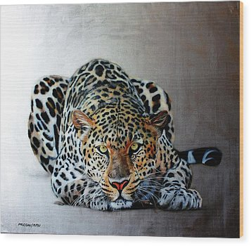 Crouching Leopard Wood Print by Susana Falconi