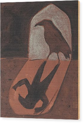 Crow In The Doorway Of Life With Woad Wood Print by Sophy White
