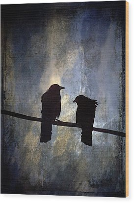 Crows And Sky Wood Print by Carol Leigh