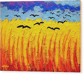 Crows Over Vincent's Field Wood Print by John  Nolan