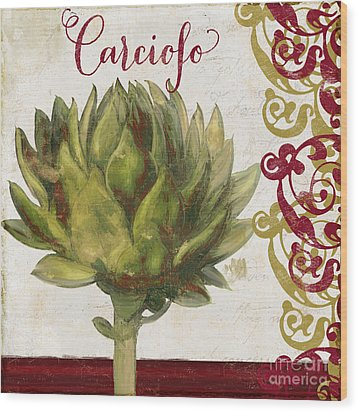 Cucina Italiana Artichoke Wood Print by Mindy Sommers