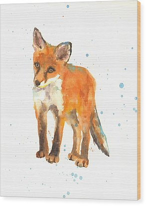 Curious Kit Wood Print by Alison Fennell