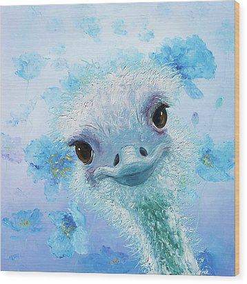 Curious Ostrich Wood Print by Jan Matson
