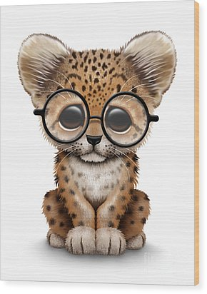 Cute Baby Leopard Cub Wearing Glasses Wood Print by Jeff Bartels