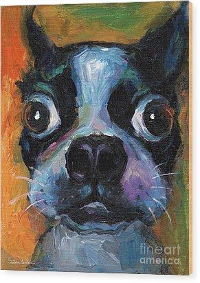Cute Boston Terrier Puppy Art Wood Print by Svetlana Novikova