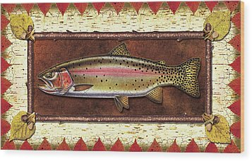 Cutthroat Trout Lodge Wood Print by JQ Licensing