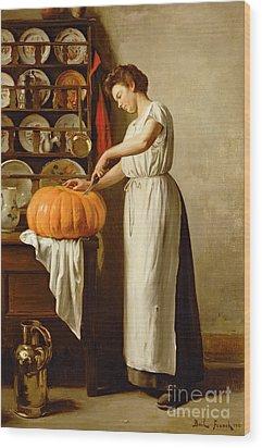 Cutting The Pumpkin Wood Print by Franck-Antoine Bail