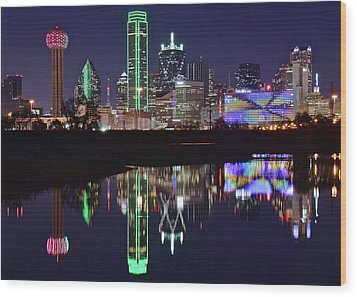 Dallas Reflecting At Night Wood Print by Frozen in Time Fine Art Photography
