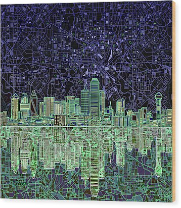 Dallas Skyline Abstract 4 Wood Print by Bekim Art