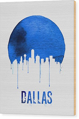 Dallas Skyline Blue Wood Print by Naxart Studio