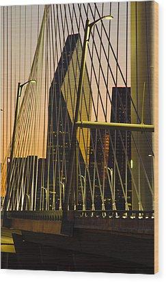 Dallas Through Bridge Wood Print by David Clanton