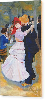 Wood Print featuring the painting Dance At Bougival After Renoir by Rodney Campbell