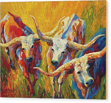 Dance Of The Longhorns Wood Print by Marion Rose