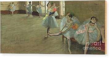 Dancers In The Classroom Wood Print by Edgar Degas