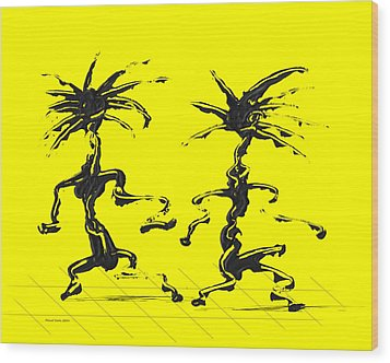Dancing Couple 5 - Yellow Wood Print by Manuel Sueess