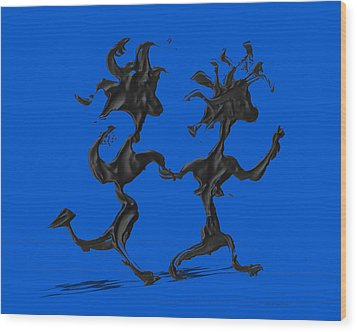 Dancing Couple 7 - Blue Wood Print by Manuel Sueess