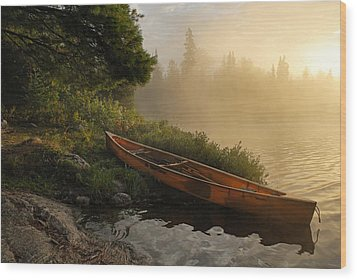 Dawn On Boot Lake Wood Print by Larry Ricker