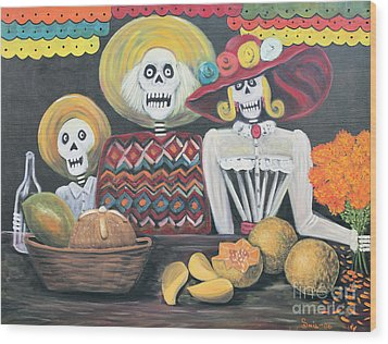 Day Of The Dead Family Wood Print by Sonia Flores Ruiz